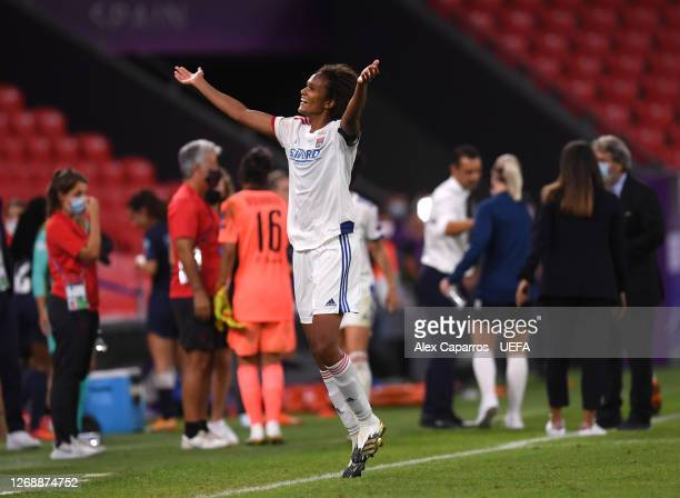 Wendie Renard of Olympique Lyonnais celebrates following her sides victory in the UEFA Women's Champions League Semi Final between Paris SaintGermain...