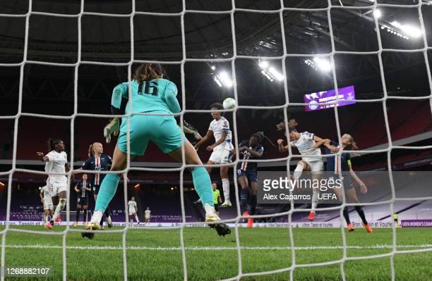 Wendie Renard of Olympique Lyonnais scores her team's first goal during the UEFA Women's Champions League Semi Final between Paris SaintGermain and...