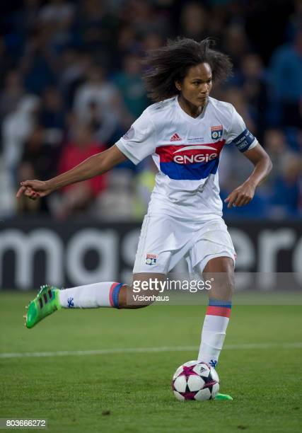Wendie Renard of Olympique Lyonnais takes a penalty during the shoot out of the UEFA Women's Champions League Final between Olympique Lyonnais and...
