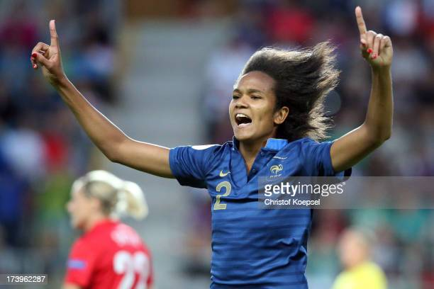 Wendine Renard of France celebrates the third goal during the UEFA Women's EURO 2013 Group C match between France and England at Linkoping Arena on...