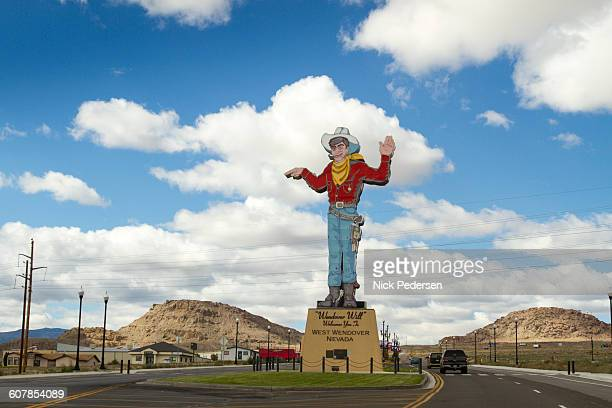 wendover will cowboy sign - nevada stock pictures, royalty-free photos & images