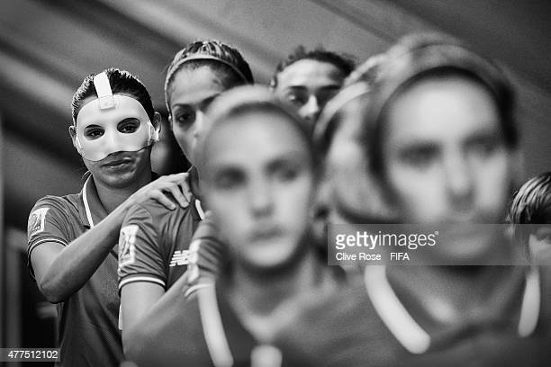 Wendy Acosta of Costa Rica looks on in the tunnel prior to kick off in the FIFA Women's World Cup 2015 Group E match between Costa Rica and Brazil at...