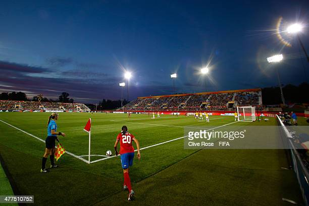 Wendy Acosta of Costa Rica prpares to take a corner during the FIFA Women's World Cup 2015 Group E match between Costa Rica and Brazil at Moncton...