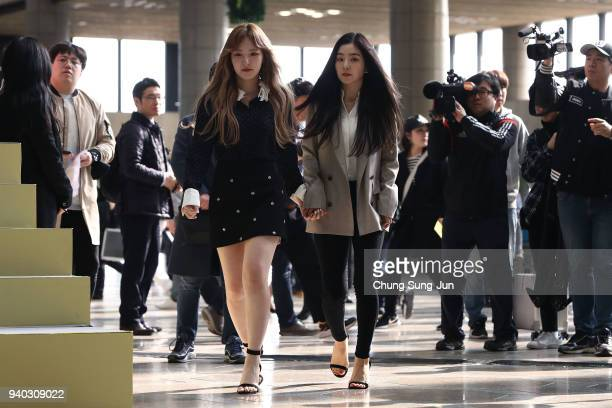 Wendy and Irene of South Korean girl group Red Velvet arrive at the event before their departure to North Korea at Gimpo airport on March 31 2018 in...