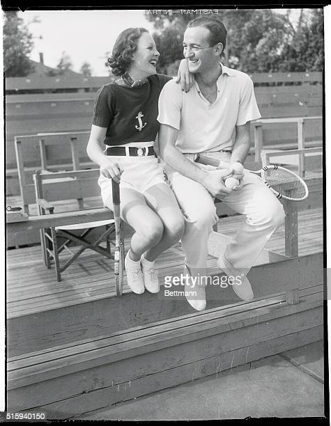Wendy Barrie British film beauty and Donald Niven who arrived at Santa Barbara Calif recently from Scotland have teamed up for daily tennis and the...