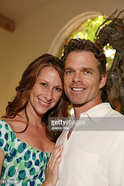 Wendy Braun and Josh Coxx attend the Trigg Ison Fine art exhibit for the work of Maxine Kim StussyFrankel at her home June 28 2008 in Los Angeles...