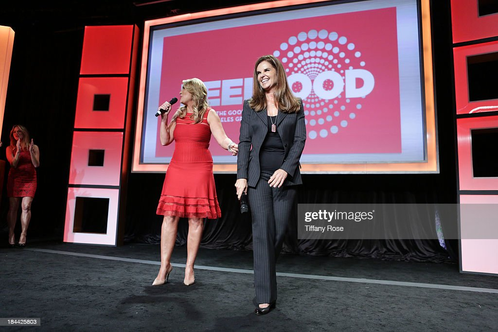 Wendy Burch honors Maria Shriver at the Good News Foundation's Feel Good event of the year at The Beverly Hilton Hotel on October 13, 2013 in Beverly Hills, California.