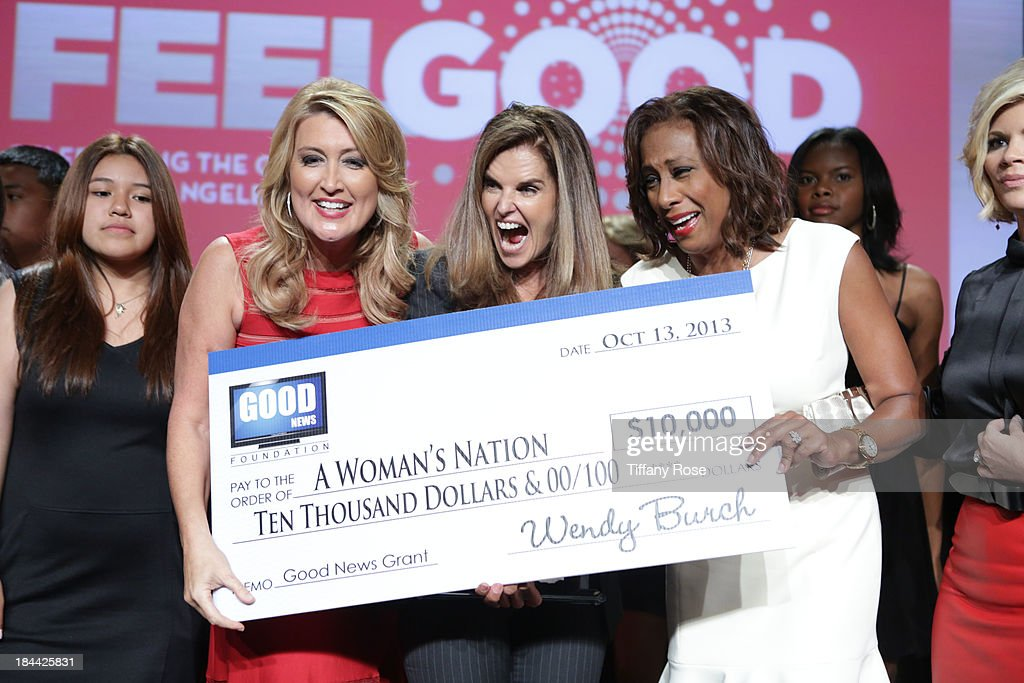 Wendy Burch, Maria Shriver and Pat Harvey attends the Good News Foundation's Feel Good event of the year at The Beverly Hilton Hotel on October 13, 2013 in Beverly Hills, California.