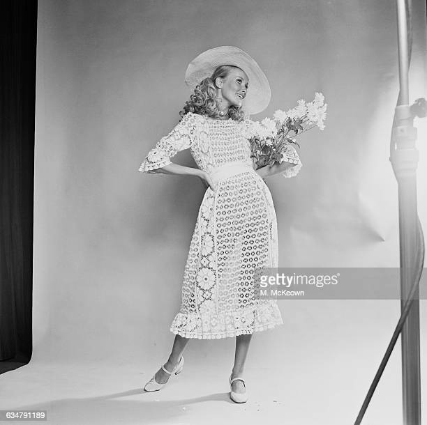Wendy Davis models a mididress in old lace UK 24th June 1970