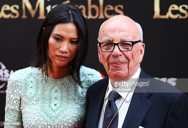Wendy Deng and Rupert Murdoch pose during the Australian premiere of 'Les Miserables' at the State Theatre on December 21 2012 in Sydney Australia