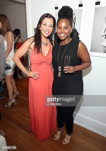 Wendy Diamond and Tiffany Fields pose for a photo at the 'Other Color' By Marc Baptiste Opening at the apART Private Gallery on June 30 2016 in New...