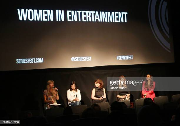 Wendy Haines Geneva Wasserman Michele Ganeless Jamie Jackson and Merle Dandridge speak during the Women In Entertainment panel discussion for...
