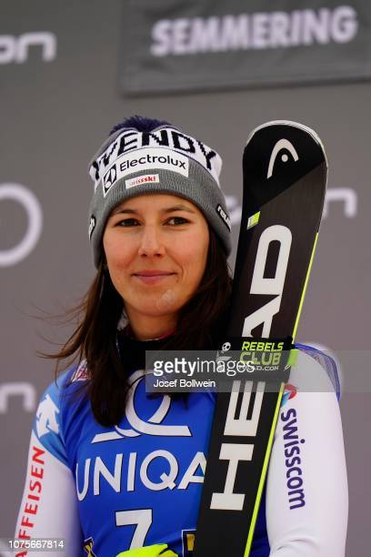 Wendy Holdener of Switzerland at flower ceremony of Audi FIS Alpine Ski World Cup Women's Slalom December 29 2018 in Semmering Austria