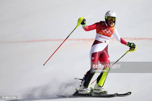 Wendy Holdener of Switzerland celebrates at the finish during the Ladies' Slalom Alpine Skiing at Yongpyong Alpine Centre on February 16 2018 in...