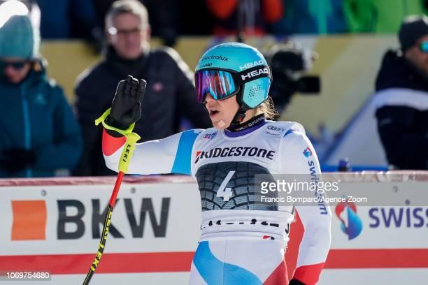 Wendy Holdener of Switzerland celebrates during the Audi FIS Alpine Ski World Cup Women's Super G on December 8 2018 in St Moritz Switzerland