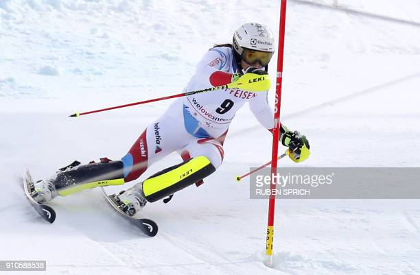 Wendy Holdener of Switzerland clears a gate during the slalom run of the ladies combined World Cup race in Lenzerheide Switzerland on January 26 2018...