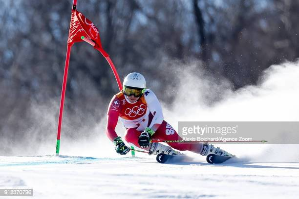 Wendy Holdener of Switzerland competes during the Alpine Skiing Women's Giant Slalom at Yongpyong Alpine Centre on February 15 2018 in Pyeongchanggun...