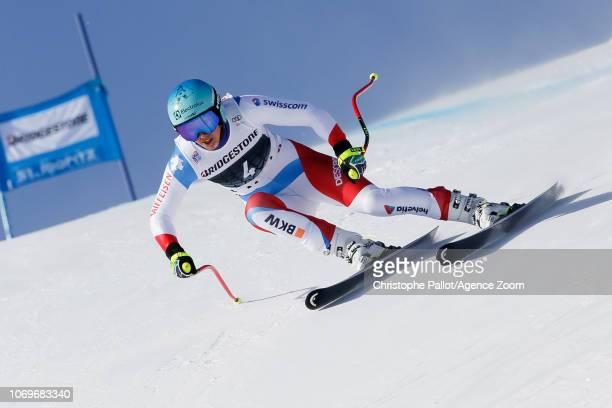 Wendy Holdener of Switzerland competes during the Audi FIS Alpine Ski World Cup Women's Super G on December 8 2018 in St Moritz Switzerland