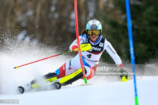 Wendy Holdener of Switzerland competes during the Audi FIS Alpine Ski World Cup Women's Slalom on January 4 2020 in Zagreb Croatia