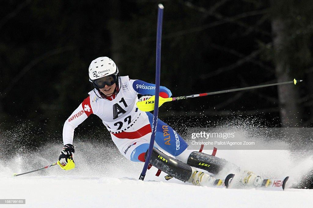 Wendy Holdener of Switzerland competes during the Audi FIS Alpine Ski World Cup Women's Slalom on December 29, 2012 in Semmering, Austria.