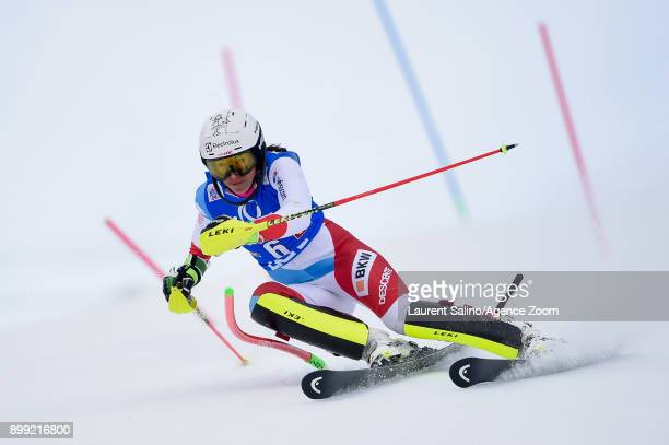 Wendy Holdener of Switzerland competes during the Audi FIS Alpine Ski World Cup Women's Slalom on December 28, 2017 in Lienz, Austria.