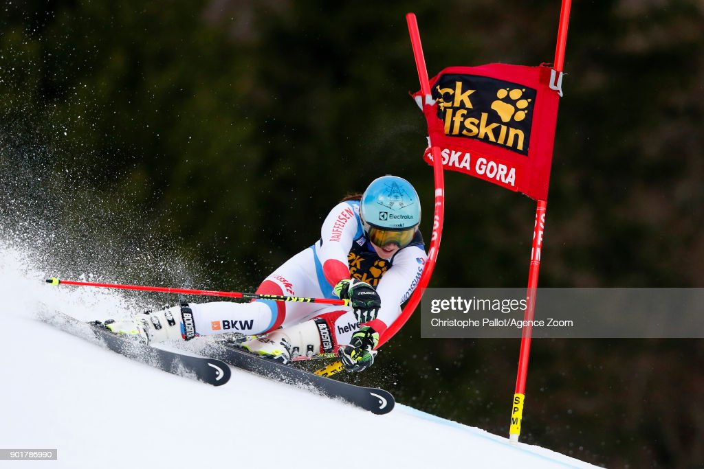 Wendy Holdener of Switzerland competes during the Audi FIS Alpine Ski World Cup Women's Giant Slalom on January 6, 2018 in Kranjska Gora, Slovenia.