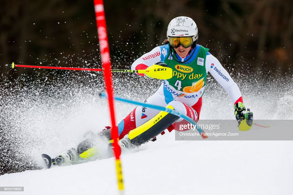 Wendy Holdener of Switzerland competes during the Audi FIS Alpine Ski World Cup Women's Slalom on January 7, 2018 in Kranjska Gora, Slovenia.
