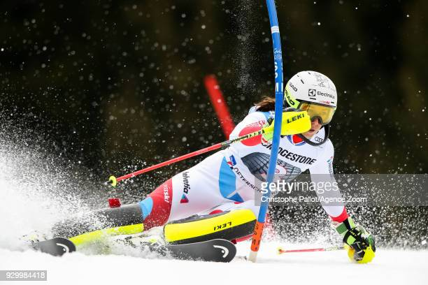 Wendy Holdener of Switzerland competes during the Audi FIS Alpine Ski World Cup Women's Slalom on March 10 2018 in Ofterschwang Germany