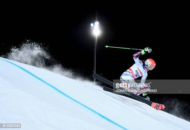TOPSHOT Wendy Holdener of Switzerland competes during the FIS Ski World Cup parallel slalom city event in Stockholm Sweden on January 30 2018 / AFP...