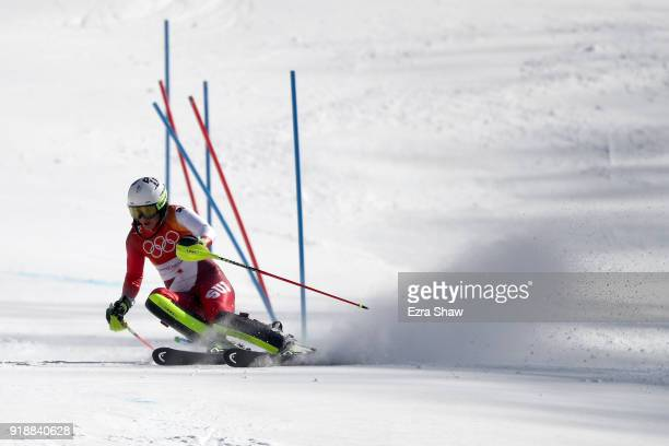 Wendy Holdener of Switzerland competes during the Ladies' Slalom Alpine Skiing at Yongpyong Alpine Centre on February 16 2018 in Pyeongchanggun South...
