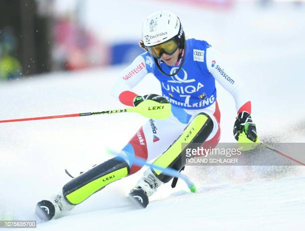 Wendy Holdener of Switzerland competes in the first run of the Women's Slalom event at the FIS Alpine Skiing World Cup in Semmering Austria on...