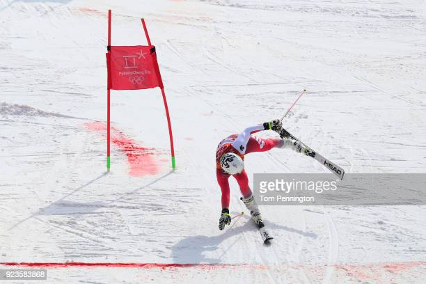 Wendy Holdener of Switzerland crosses the line during the Alpine Team Event Big Final on day 15 of the PyeongChang 2018 Winter Olympic Games at...