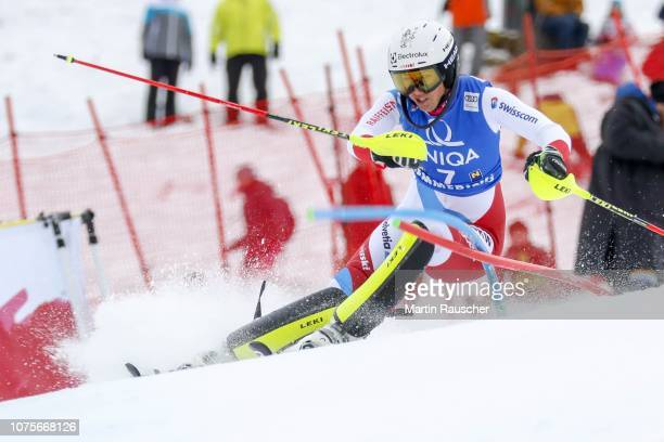 Wendy Holdener of Switzerland during the second run of Audi FIS Alpine Ski World Cup Women's Slalom on December 29 2018 in Semmering Austria