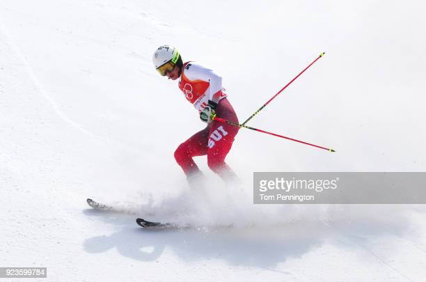 Wendy Holdener of Switzerland finishes during the Alpine Team Event Semifinals on day 15 of the PyeongChang 2018 Winter Olympic Games at Yongpyong...