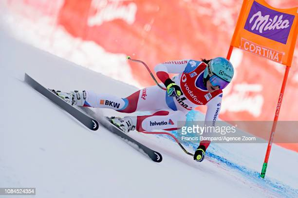 Wendy Holdener of Switzerland in action during the Audi FIS Alpine Ski World Cup Women's Downhill on January 18 2019 in Cortina d'Ampezzo Italy