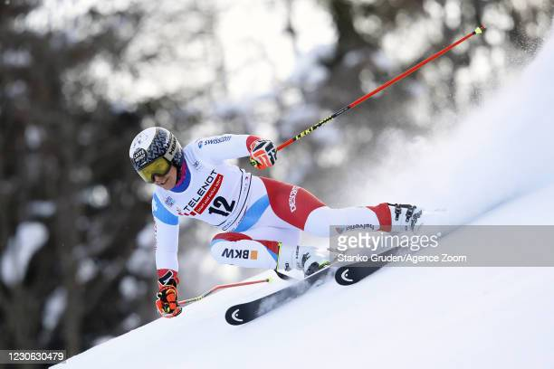 Wendy Holdener of Switzerland in action during the Audi FIS Alpine Ski World Cup Women's Giant Slalom in January 17, 2021 in Kranjska Gora, Slovenia.