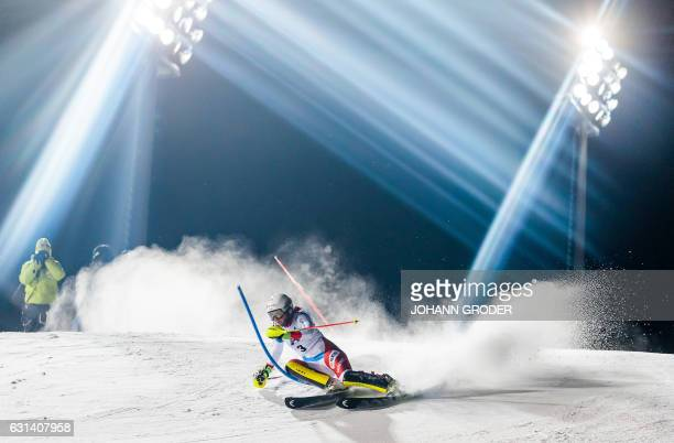 Wendy Holdener of Switzerland in action during the first run at ladies world cup slalom Flachau on January 10 2017 / AFP PHOTO / APA AND EXPA /...