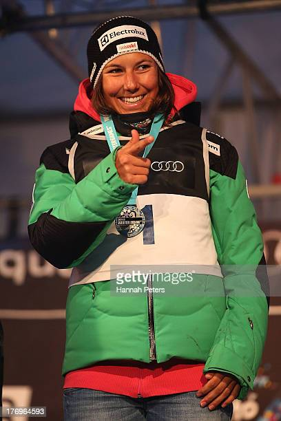 Wendy Holdener of Switzerland poses on the podium after winning the Womens Alpine Giant Slalom during day six of the Winter Games NZ on August 20...