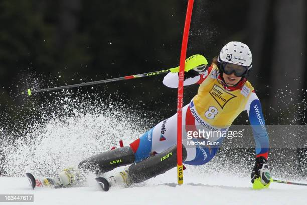 Wendy Holdener of Switzerland races down the course whilst competing in the Audi FIS Alpine Ski World Cup Women's Slalom on March 10 2013 in...
