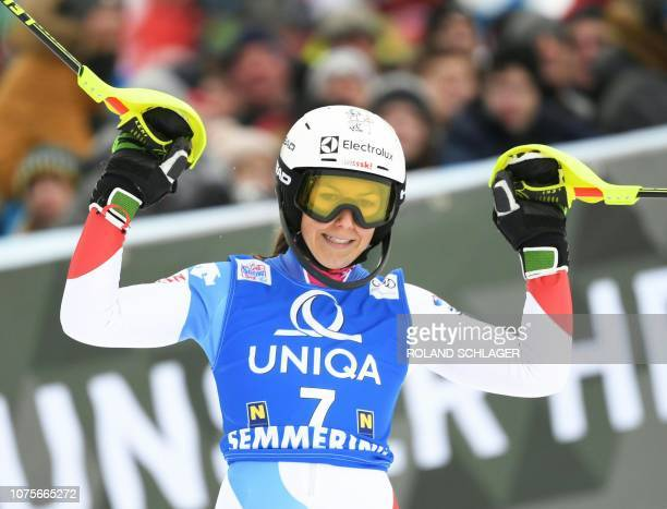 Wendy Holdener of Switzerland reacts after the second run of the Women's Slalom event at the FIS Alpine Skiing World Cup in Semmering Austria on...