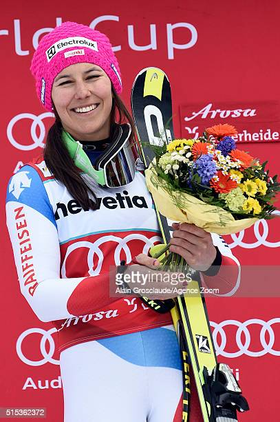 Wendy Holdener of Switzerland takes 1st place during the Audi FIS Alpine Ski World Cup Women's Super Combined on March 13 2016 in Lenzerheide...
