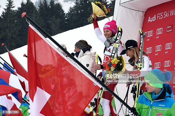 Wendy Holdener of Switzerland takes 1st place Lara Gut of Switzerland takes 3rd place during the Audi FIS Alpine Ski World Cup Women's Super Combined...