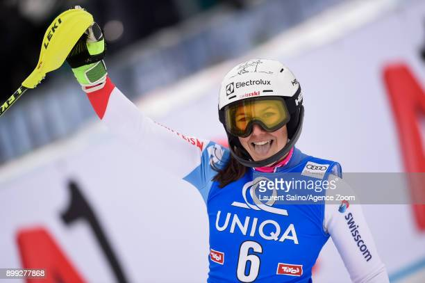 Wendy Holdener of Switzerland takes 2nd place during the Audi FIS Alpine Ski World Cup Women's Slalom on December 28, 2017 in Lienz, Austria.