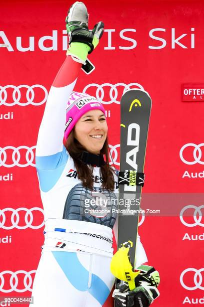 Wendy Holdener of Switzerland takes 2nd place during the Audi FIS Alpine Ski World Cup Women's Slalom on March 10 2018 in Ofterschwang Germany