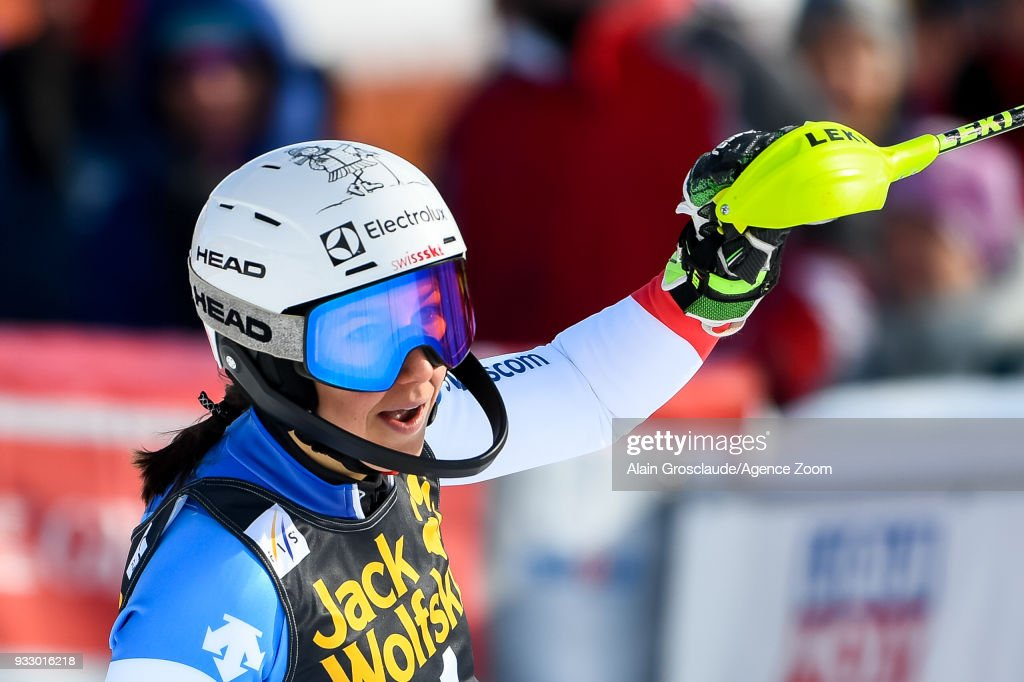 Wendy Holdener of Switzerland takes 2nd place during the Audi FIS Alpine Ski World Cup Finals Women's Slalom on March 17, 2018 in Are, Sweden.