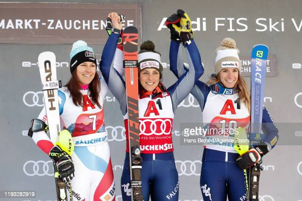 Wendy Holdener of Switzerland takes 2nd place Federica Brignone of Italy takes 1st place Marta Bassino of Italy takes 3rd place during the Audi FIS...