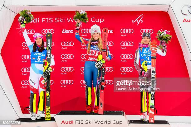 Wendy Holdener of Switzerland takes 2nd place, Mikaela Shiffrin of USA takes 1st place, Frida Hansdotter of Sweden takes 3rd place during the Audi...