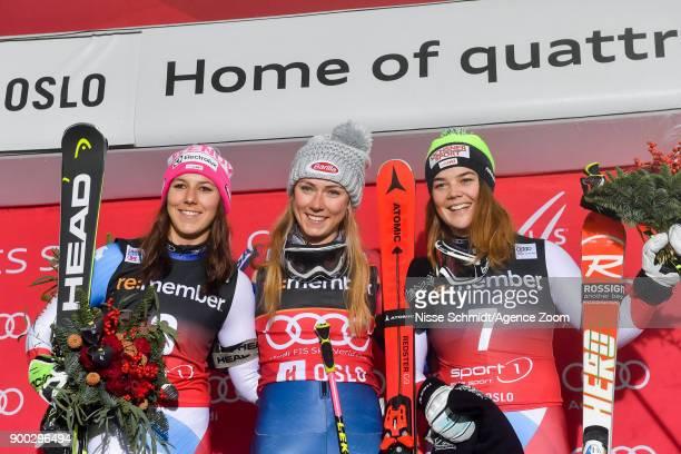 Wendy Holdener of Switzerland takes 2nd place Mikaela Shiffrin of USA takes 1st place Melanie Meillard of Switzerland takes 3rd place during the Audi...