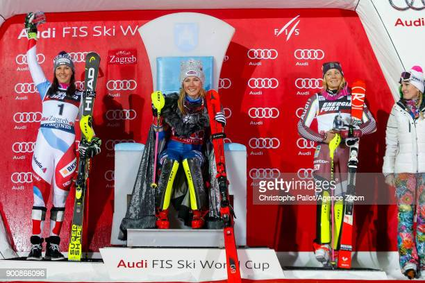 Wendy Holdener of Switzerland takes 2nd place Mikaela Shiffrin of USA takes 1st place Frida Hansdotter of Sweden takes 3rd place Janica Kostelic of...
