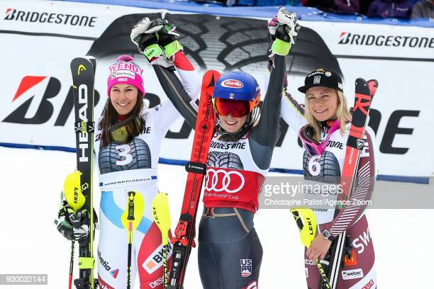 Wendy Holdener of Switzerland takes 2nd place Mikaela Shiffrin of USA takes 1st place Frida Hansdotter of Sweden takes 3rd place during the Audi FIS...